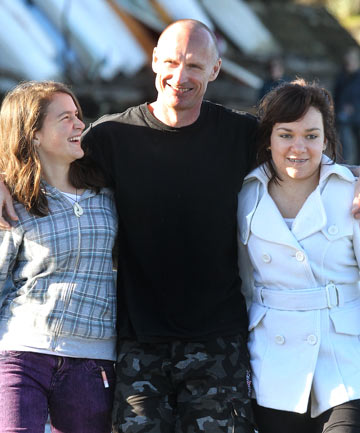 CLINCHER: Anti-whaling protester Pete Bethune, pictured with daughters Danielle and Alycia, said a $70,000 down payment was enough to agree to selling his life story – including the sinking of the Ady Gil and his time in a Tokyo prison – to a film producer.