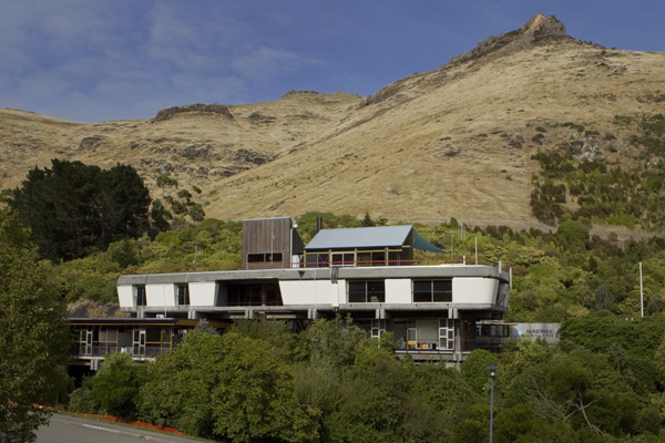 The Peter Beavan designed Lyttelton Control Tunnel building that is to be demolished because of earthquake damage.