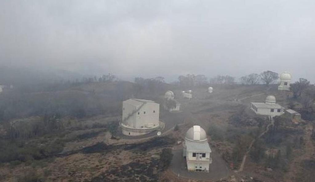 The Siding Spring Observatory the morning after the fire swept through.
