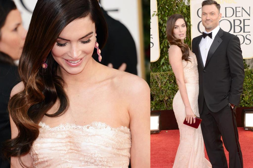 Just three months after giving birth to son Noah, Megan Fox opted for a form-fitting Dolce&Gabbana dress, Lorraine Schwartz jewels and a Salvatore Ferragamo clutch. Say what you will about her acting, this girl knows how to work old-world Hollywood glam (although hubbie Brian Austin-Green's hair's verging on Vanilla Ice).