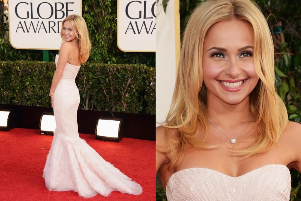Nominated Nashville star Hayden Panettiere paired natural makeup with a blush-pink Roberto Cavalli gown. It's simple yes, but it's also gorgeous.