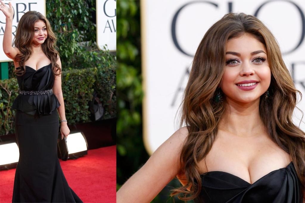 Looking more like her 18-years-her-senior Modern Family co-star Sofia Vergara, 22-year-old Sarah Hyland's Max Azria dress ages her. The misplaced peplum aside, it's the pint-sized actress' big hair that most offends.