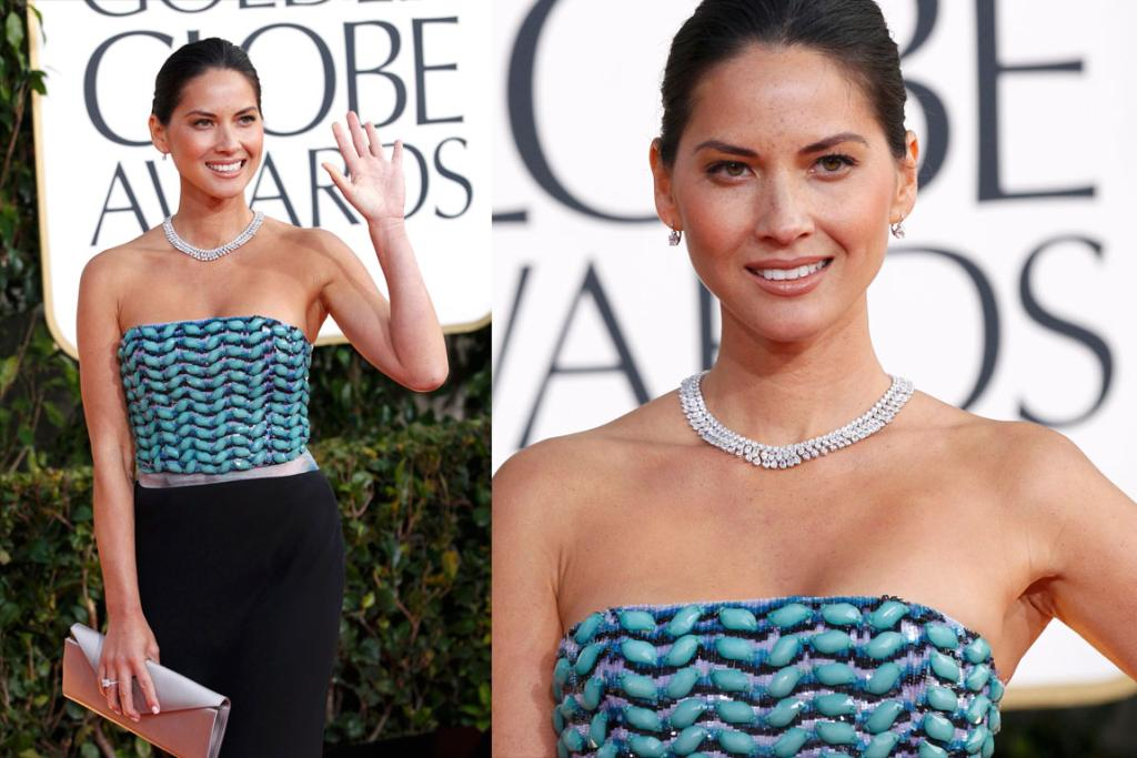 Newsroom actress Olivia Munn opted for sleek hair with a strapless Giorgio Armani Spring 2013 dress. The turquoise detailing is to-die, although we'd have preferred it paired with a less classic, more tribal necklace.