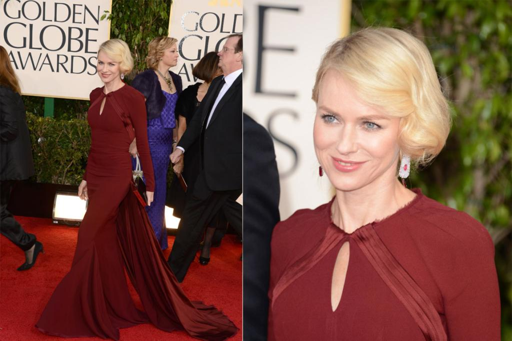 Actress Naomi Watts clearly came in character, mimicking the late Princess Di's coy head tilt while walking the carpet in Zac Posen. Considering it's winter in the US, we appreciate that she opted for something that's actually seasonally appropriate.