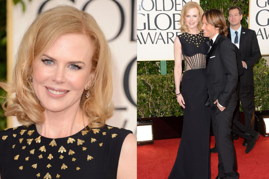 Actress Nicole Kidman and singer Keith Urban arrive. She-of-the-remarkably-smooth-forehead opted for Alexander McQueen, and while it ticks all the boxes, we can't help but wonder if it'd be nicer with just the sheer midriff or the gold embellishments, not both?