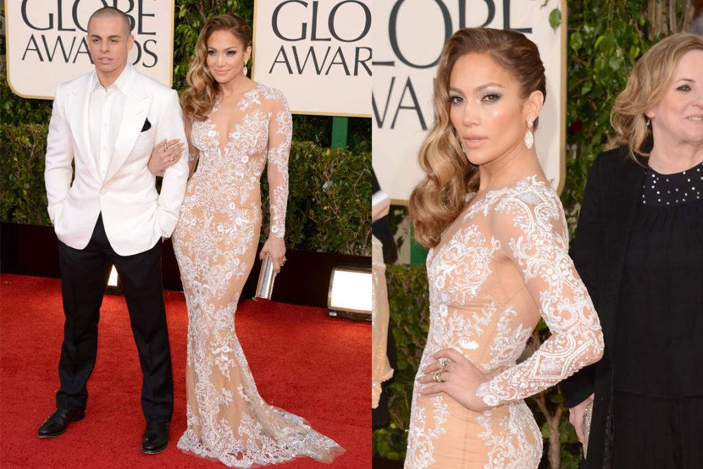 Jennifer Lopez wore a Zuhair Murad silk gown with an ivory lace overlay, accessorising with her 18-years-her-junior boyf, Casper Smart. This dress looks like almost everything JLo's been pictured in during her recent world tour: skintight. We know you have a good body, you can stop wearing body stockings.