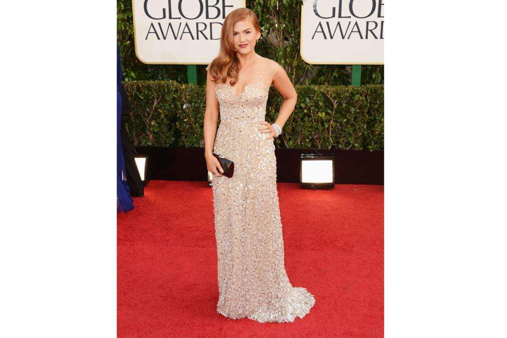 Shimmer was a key trend this year, and 36-year-old Isla Fisher was one of our victors of the look. She looks like a diva of yesteryear in this Reem Acra gown. In a redhead-off with Amy Adams, we think she wins.