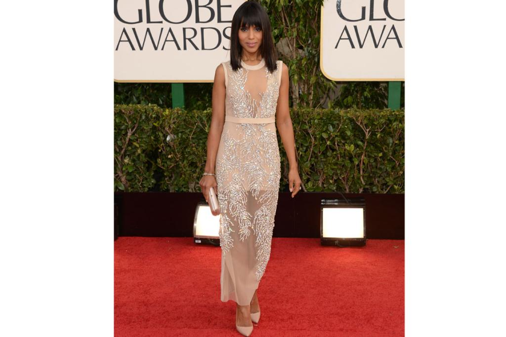Kerry Washington is resplendent in Miu Miu, and we even like the touches of blonde in her choppy bangs.