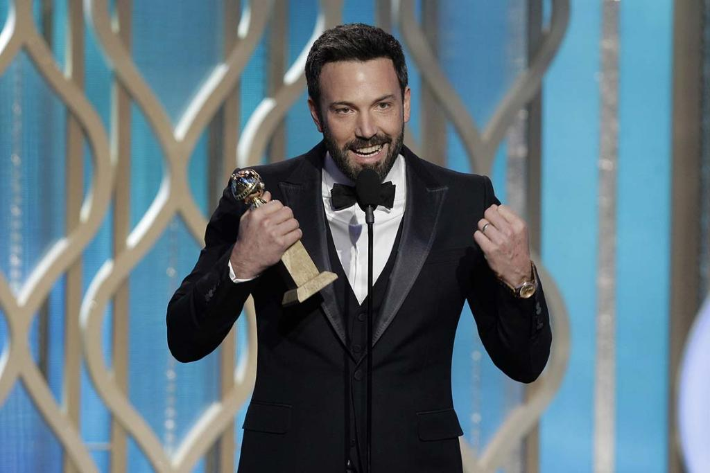 Ben Affleck accepts the award for best director for Argo on stage at the Golden Globes.