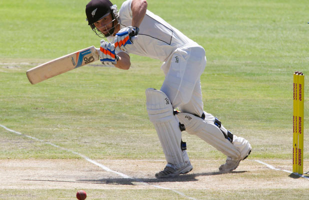 HALF-CENTURY: New Zealand's B J Watling plays a shot on day four of the second test.
