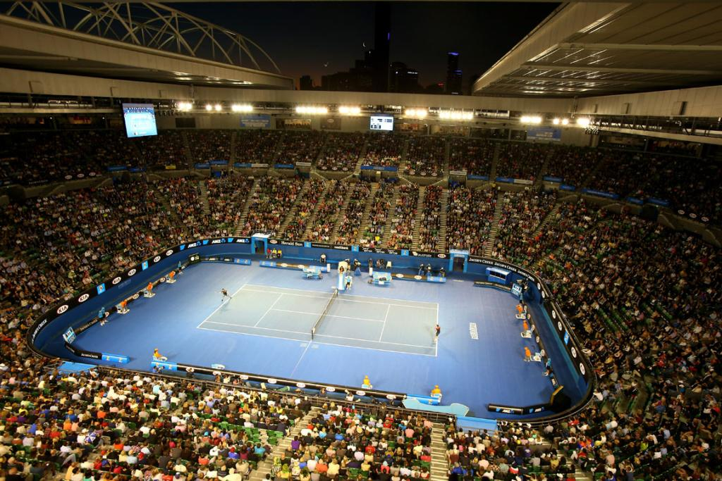 A packed house shows up to watch local Lleyton Hewitt's first round match at Rod Laver Arena.