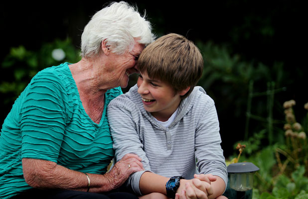 Liam Mehlhopt and his grandmother, Elaine Mehlhopt