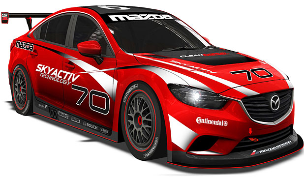 Mazda6 racer: It's to run in the Grand-Am GX class in the Rolex 24 at Daytona using a race-version of the production SkyActiv diesel engine.