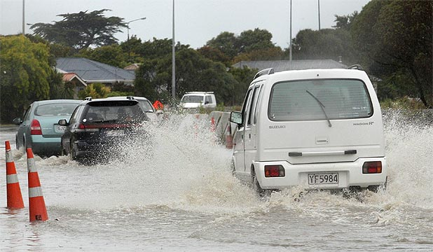 FLOODING: Heavy rain has caused flooding on New Brighton Road in Christchurch.