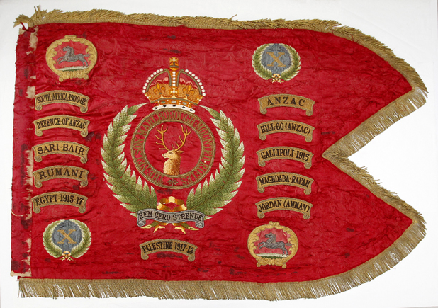 Fine handiwork: The Nelson Marlborough Mounted Rifles guidon is on permanent loan to Marlborough Museum.