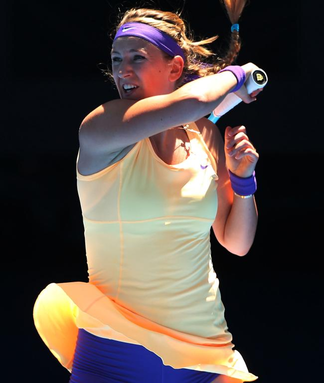 No 1 seed Victoria Azarenka in action on day two.