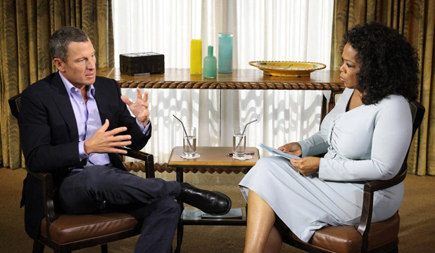 THE INTERVIEW: An image from Oprah Winfrey's interview with Lance Armstrong where the former seven-time Tour de France champion confessed to doping.