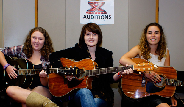 HIGH HOPES: Megan Younger, left, Danaan Hunter-Brown, and Maggie Worthington getting ready to head into the big audition.