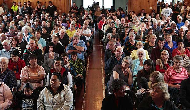 FULL HOUSE: About 200 turned up for Tuesday night's meeting in Kawhia.