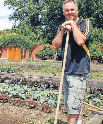 Victorian kitchen gardener Dennis Travaglia in the section of the Hamilton Gardens where the order and beauty of healthy food cropping asserts its place in public gardening.