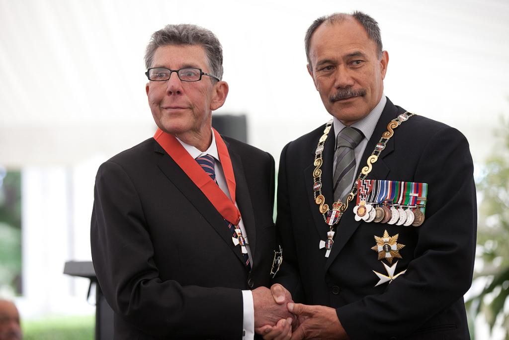 Sir Paul Holmes and Governor-general Jerry Mateparae after his ceremony.