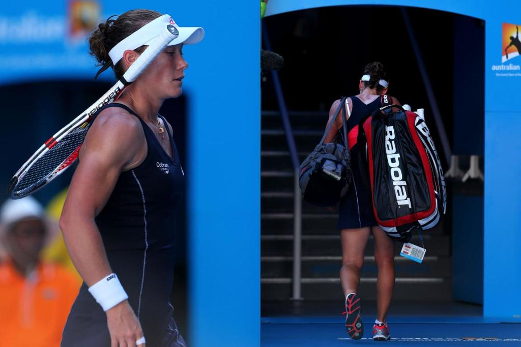 Sam Stosur exits Rod Laver Arena after her second round defeat to China's Zheng Jie
