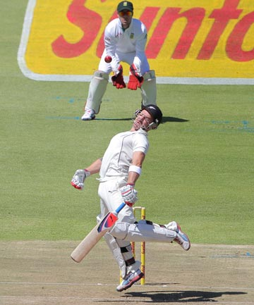LOOK OUT: Black Caps skipper Brendon McCullum dodges a short-pitched delivery during first test action against South Africa in Cape Town.