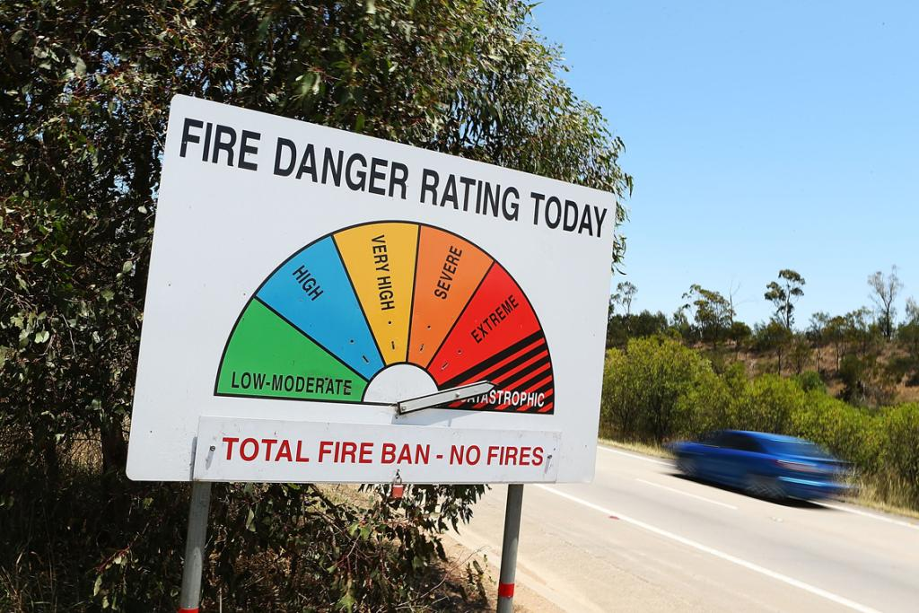 A fire danger sign on the Hume Highway between Sydney and Melbourne gives a grim warning to locals.