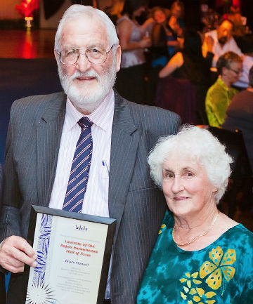 Leaving his mark: Bruce Mansell, pictured with his wife Meg last year after being inducted into the Business Kapiti Horowhenua Hall of Fame.
