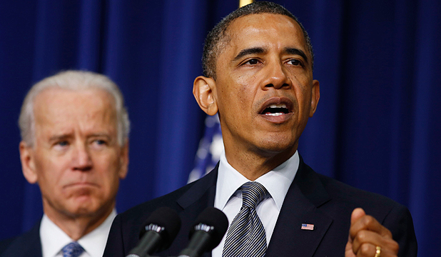 FIGHTING VIOLENCE: US President Barack Obama unveils a series of proposals to counter gun violence as Vice President Joe Biden looks.