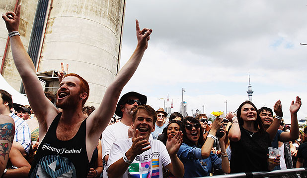 FESTIVE FEEL: Revellers at last year's Laneway Festival at Silo Park in Auckland.