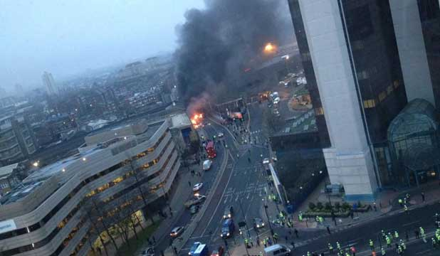 CRASH SCENE: A picture posted on Twitter said to be of the helicopter crash in central London.