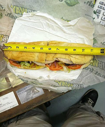 SIZE MATTERS: Matt Corby's Facebook photo of the offending 11-inch footlong.