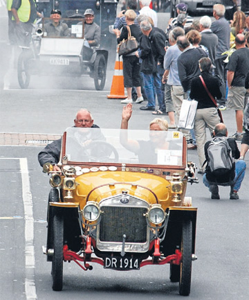 Chris Read, of Arrowtown, drives his 1914 Delage Voiturette out of Dunedin during last year's Dunedin to Brighton Veteran car rally.