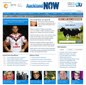 AROUND THE CLOCK: News, sport, entertainment and more at aucklandnow.co.nz.