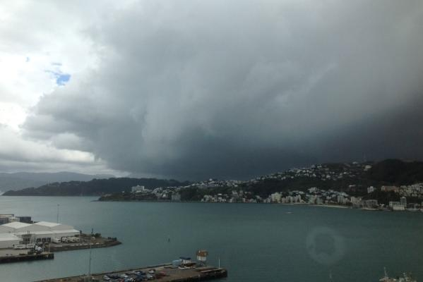 A storm front rolls over Wellington Harbour.