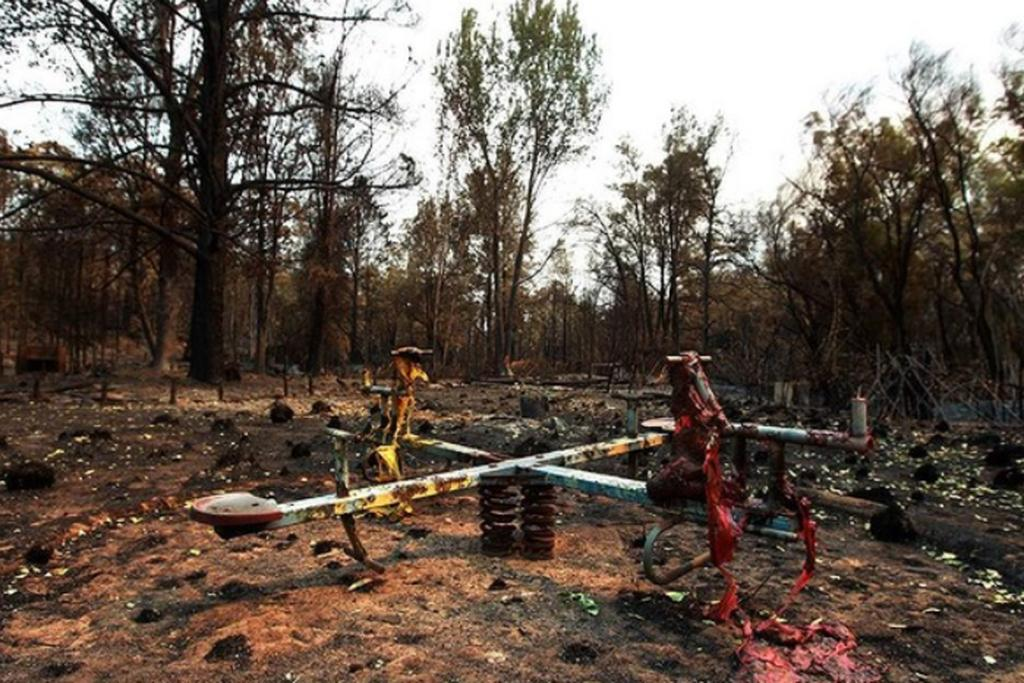 A children's playground destroyed by the massive bushfire in rural New South Wales.