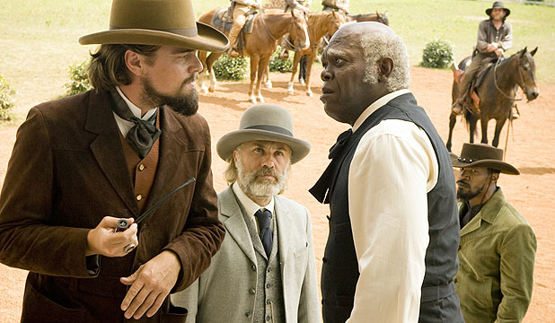 BEAUTIFULLY ENGAGING: Leonardo DiCaprio, Christopher Waltz, Samuel L Jackson and Jamie Foxx in Django Unchained.