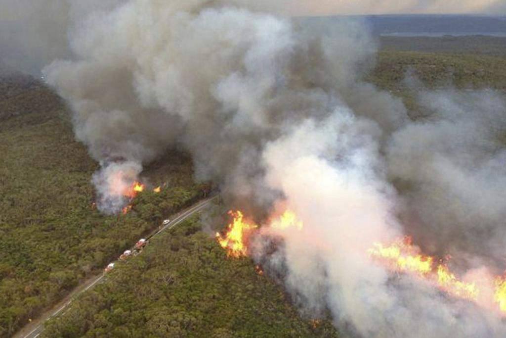 A fire burns in Ku-Ring-Gai National Park, north of Sydney.