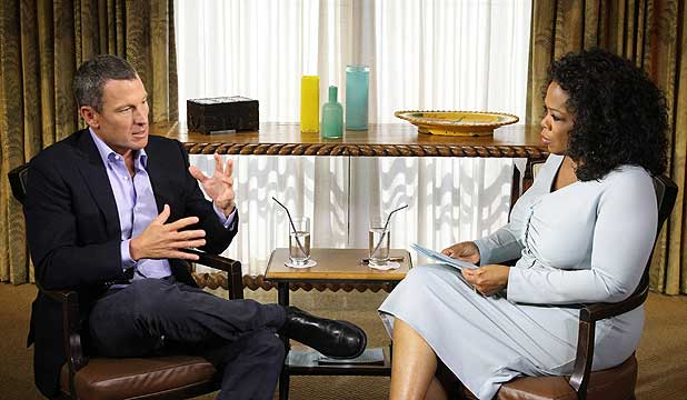 WIN-WIN?: Lance Armstrong talks to Oprah Winfrey during an exclusive interview to screen this week.