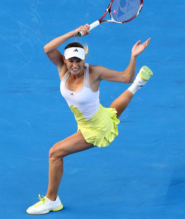 Caroline Wozniacki returns a shot during her third round win.
