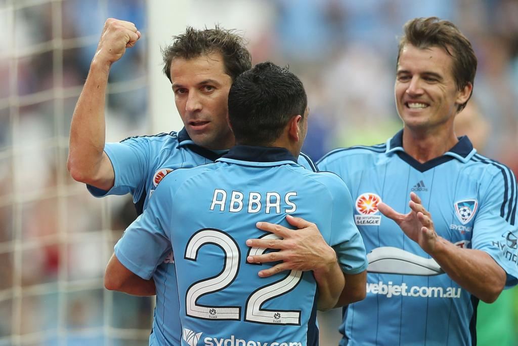 Alessandro Del Piero celebrates one of his four goals against the Phoenix.