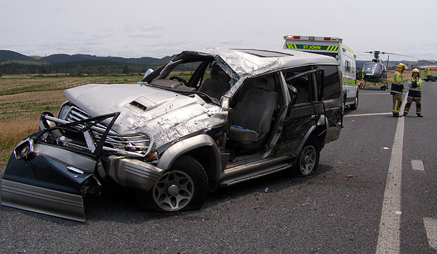 ACCIDENT AFTERMATH: What remained of the SUV after it rolled on the Taupo bypass with a family of four inside.