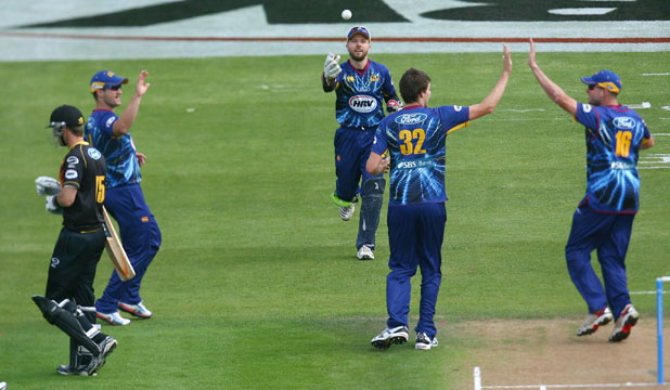 WINNERS: The Otago Volts celebrate a wicket against the Firebirds in the HRV Cup final.