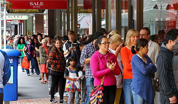 NOT WANTING TO MISS OUT:  A queue of people hoping to get bargains forms outside Kirkcaldie & Stains for its summer sale yesterday.