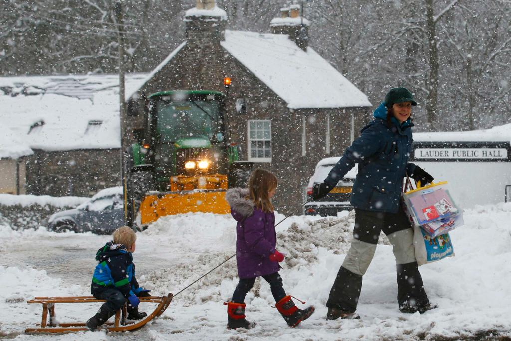 A smart way of getting around in the snow in Lauder, southern Scotland.