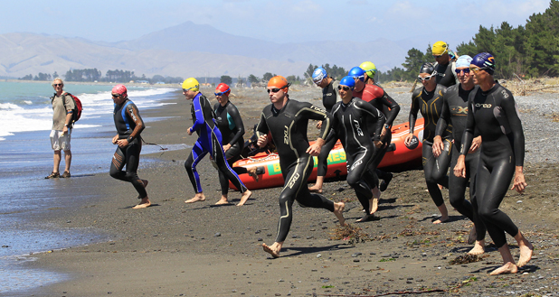 Start line scramble: Hipkins Cup ocean swim from Rarangi to Whites Bay.