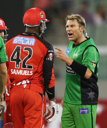 BIG BASH CLASH: The much-publicised heated on-field confrontation between Marlon Samuels and Shane Warne (right) during their January 6 Big Bash match.