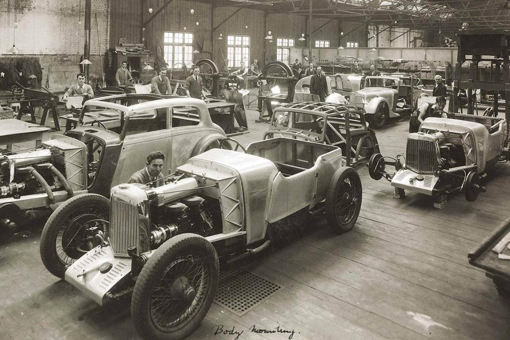 Aston Martin Mk II cars are produced in their Victoria Road plant in the southwest London suburb of Feltham in 1935.