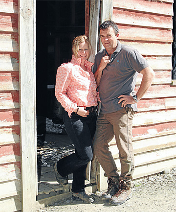 Successful farmers Heather and Steve Wilkins outside The Vege Shed on their Athol property.